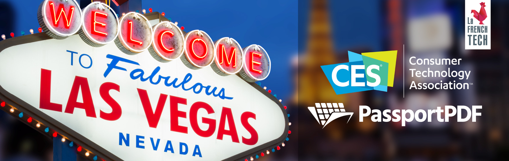 Illustration with logos from the CES Las Vegas, PassportPDF and La French Tech