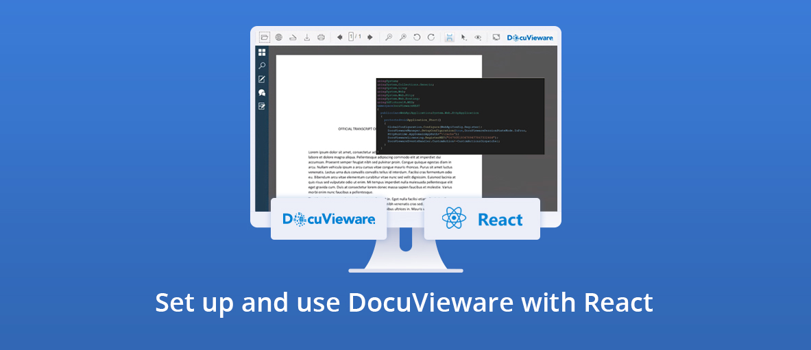 Illustration for the blog article about how to set up and use DocuVieware using React.